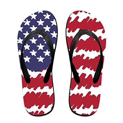 Abstract Scribble USA Flag Pattern Unisex Fashion Beach Slipper Indoor And Outdoor Classical Flip Flops Thong Sandals