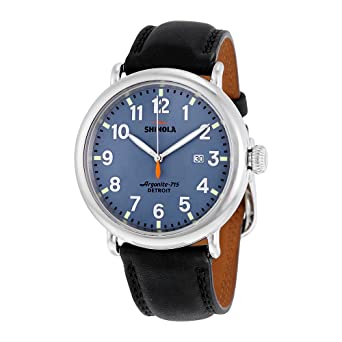 a97a3b901 Image Unavailable. Image not available for. Color: Shinola The Runwell  Leather Band Steel Case Midnight Blue Dial Watch 20001119