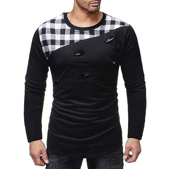 Hombres Manga Larga rasguños Agujero Empalme Trajes Casuales Camisas Blusa Top por Internet