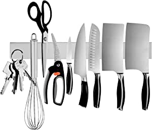 Magnetic Knife Holder, Ouddy 16 Inch Stainless Steel Magnetic Knife Strip, Magnetic Knife Bar Rack Block for Kitchen Utensil Holder, Art Supply Organizer & Tool Holder
