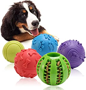Interactive Dog Toys Ball - 5 Pack Different Functions Rubber Balls - Dog Squeaky Balls, Durable Dog Chew Ball, Dog Treat Ball Food Dispensing Toy for Teething, Fit for Small Medium Large Dogs