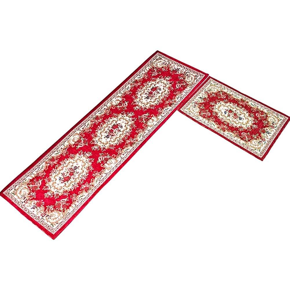 LISIBOOO 2 Pieces Kitchen Soft Area Rugs Sets Non-Slip Rubber Backing Carpet Floral Vintage Floor Doormat Bath Mat Rug Runner (15''x25''+ 13''x47'', Red)