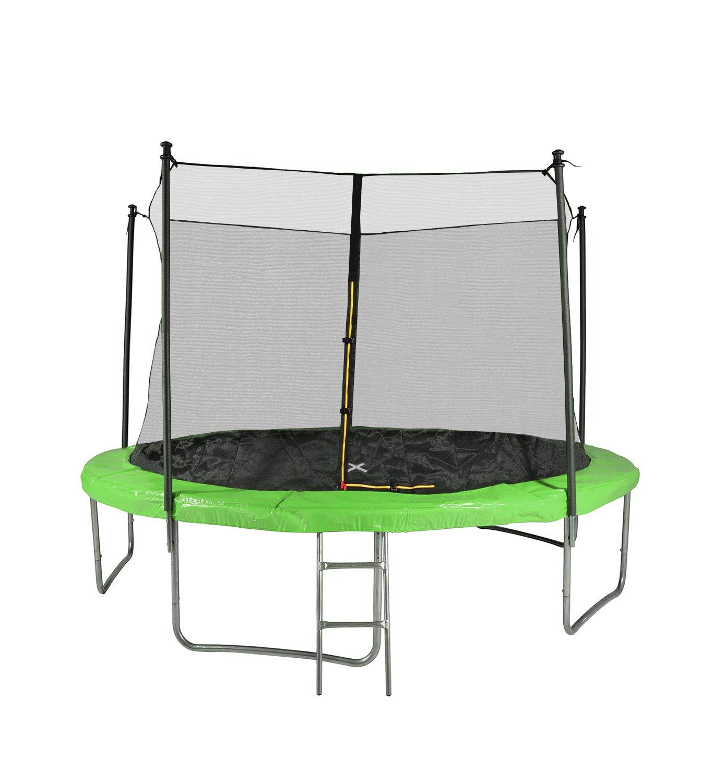 Garten-Trampolin mit Sicherheitsnetz, Leiter und Schaumstoff, Durchmesser 12 m, 366 cm, 5 Sitzstangen – TÜV – (Grün)