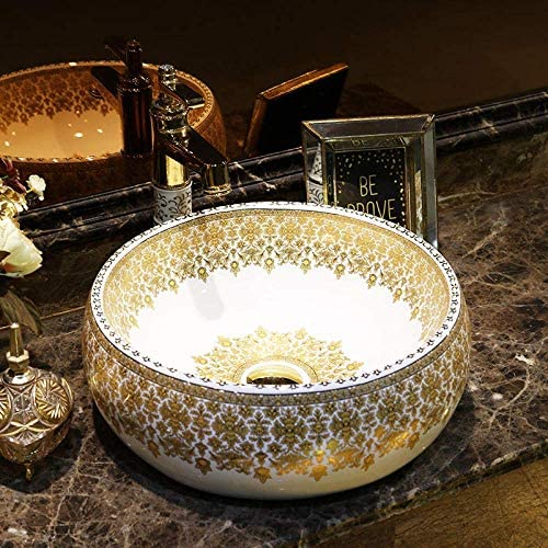 Yadianna 中国の陶芸流域のシンクのカウンタートップ洗面浴室船舶のシンク金パターンセラミック洗濯洗面器の浴室のシンク