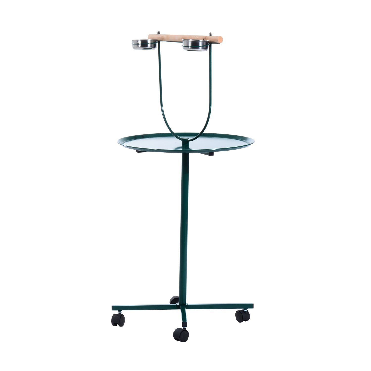 Pawhut 49'' Bird Play Stand w/ Wheels - Green