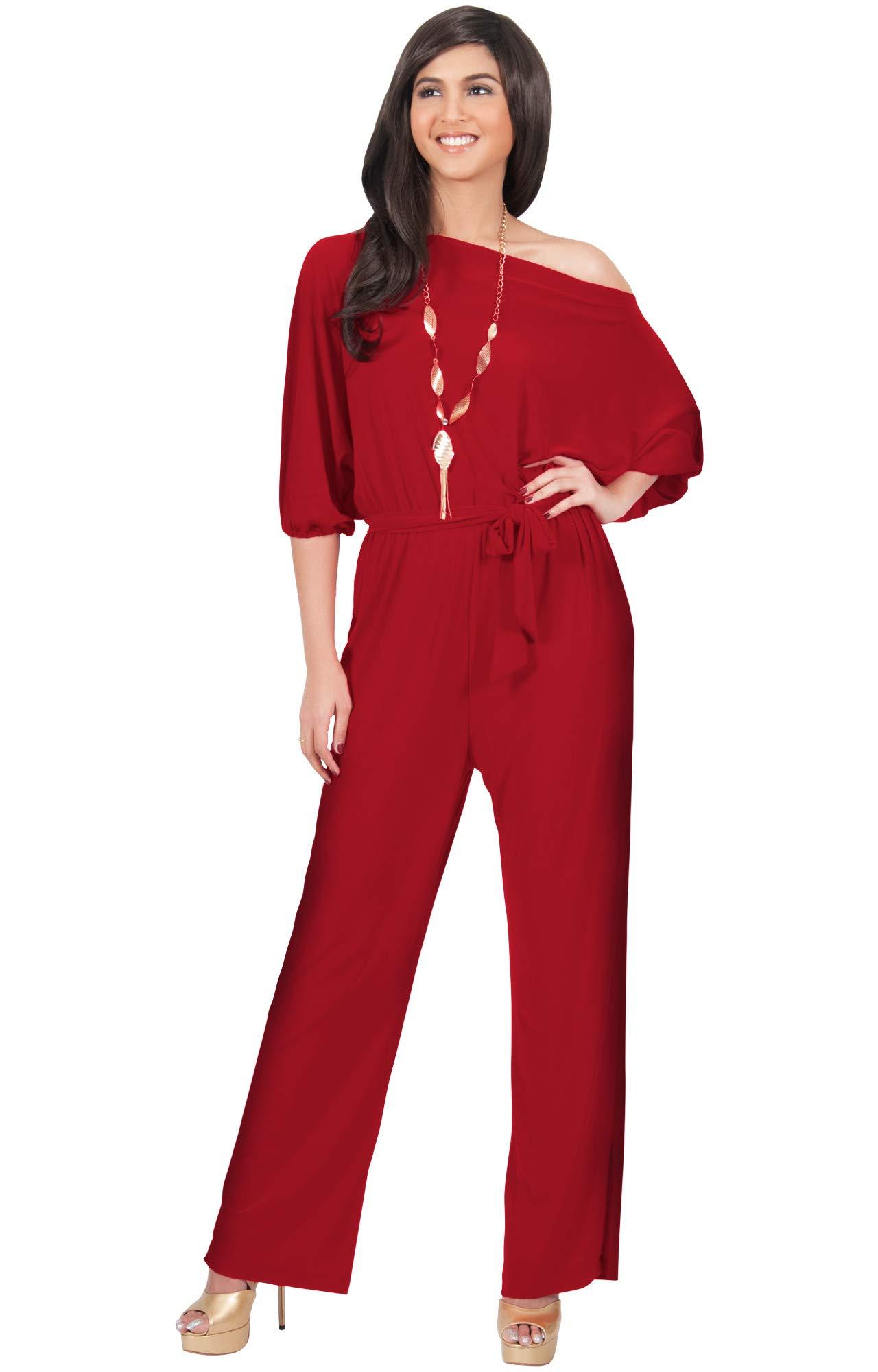 6acc3fabdd2eb KOH KOH Womens One Shoulder Short Sleeve Sexy Wide Leg Long Pants One Piece Jumpsuit  Jumpsuits Pant Suit Suits Romper Rompers Playsuit Playsuits, Red M 8-10