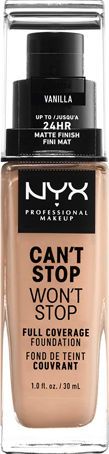 NYX PROFESSIONAL MAKEUP Can't Stop Won't Stop Full Coverage Foundation Makeup, Vanilla, 1 Ounce