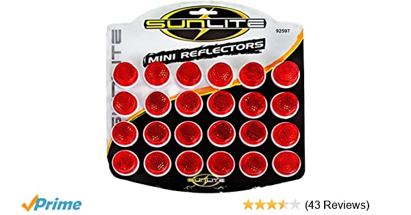 """Card of 24 All Red Sunlite Carded 1/"""" Reflectors"""