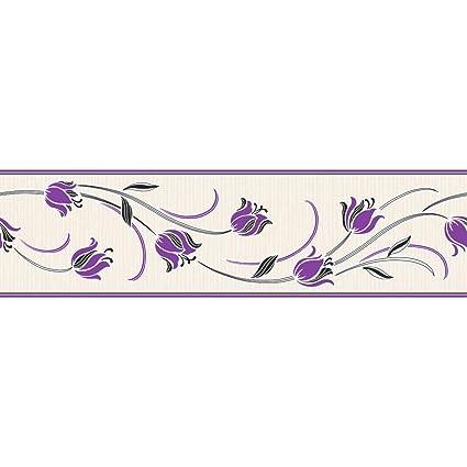 Fine Decor Tulipa Floral Wallpaper Border Purple And Cream