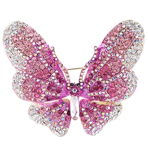 (EVER FAITH Women's Austrian Crystal Butterfly Brooch Pink Gold-Tone)