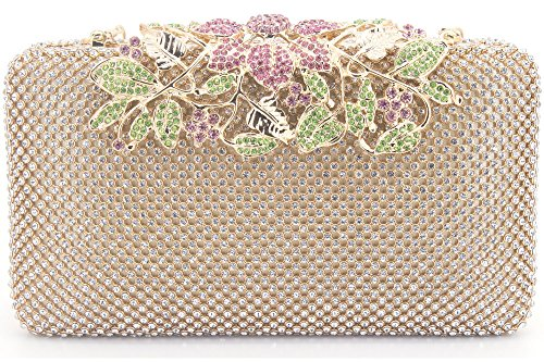 Womens Evening Bag with Flower Closure Rhinestone Crystal Clutch Purse ()