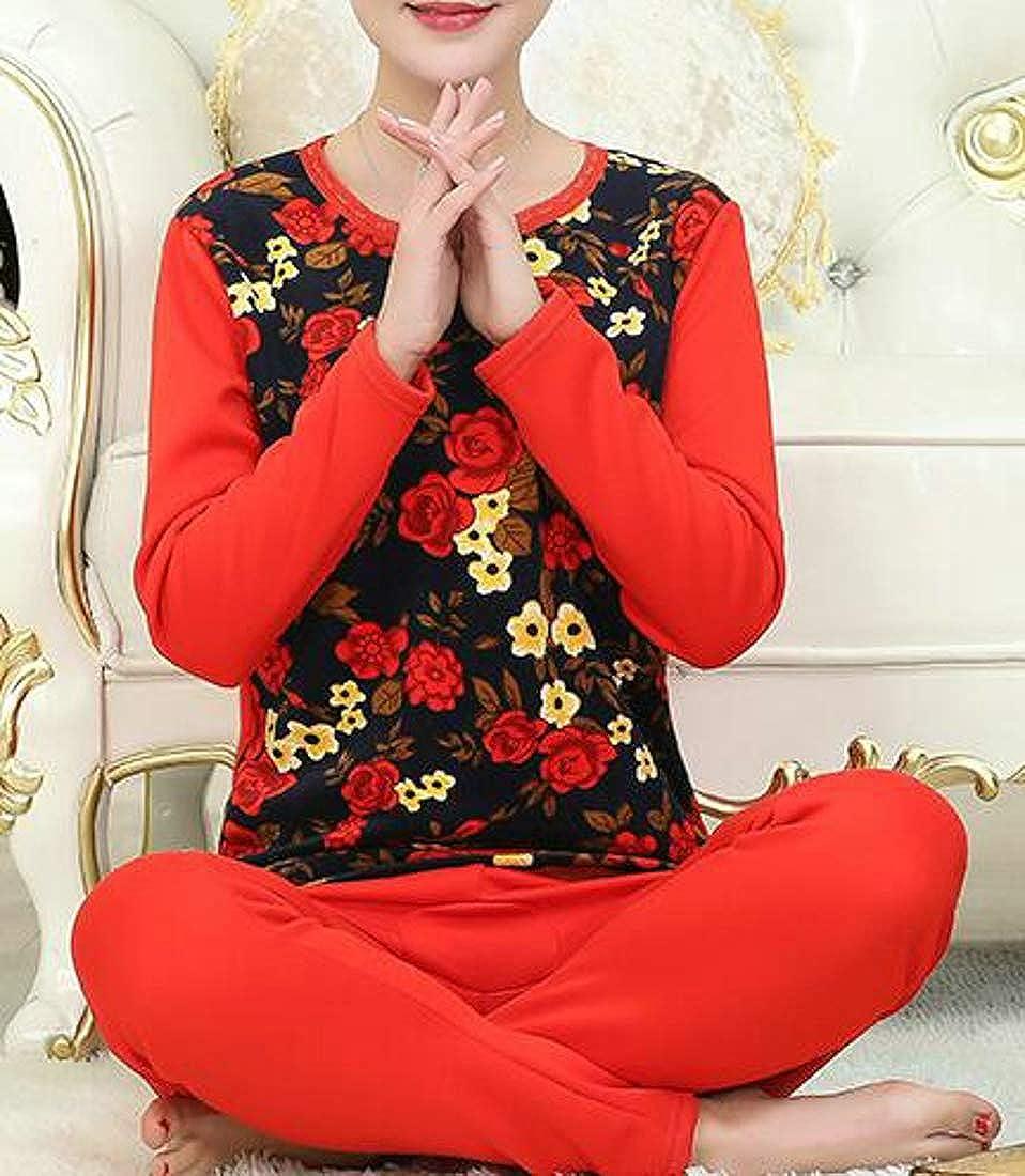 Bigbarry Womens Winter Thick Print Soft Fleece 2PCS Thermal Underwear Sets