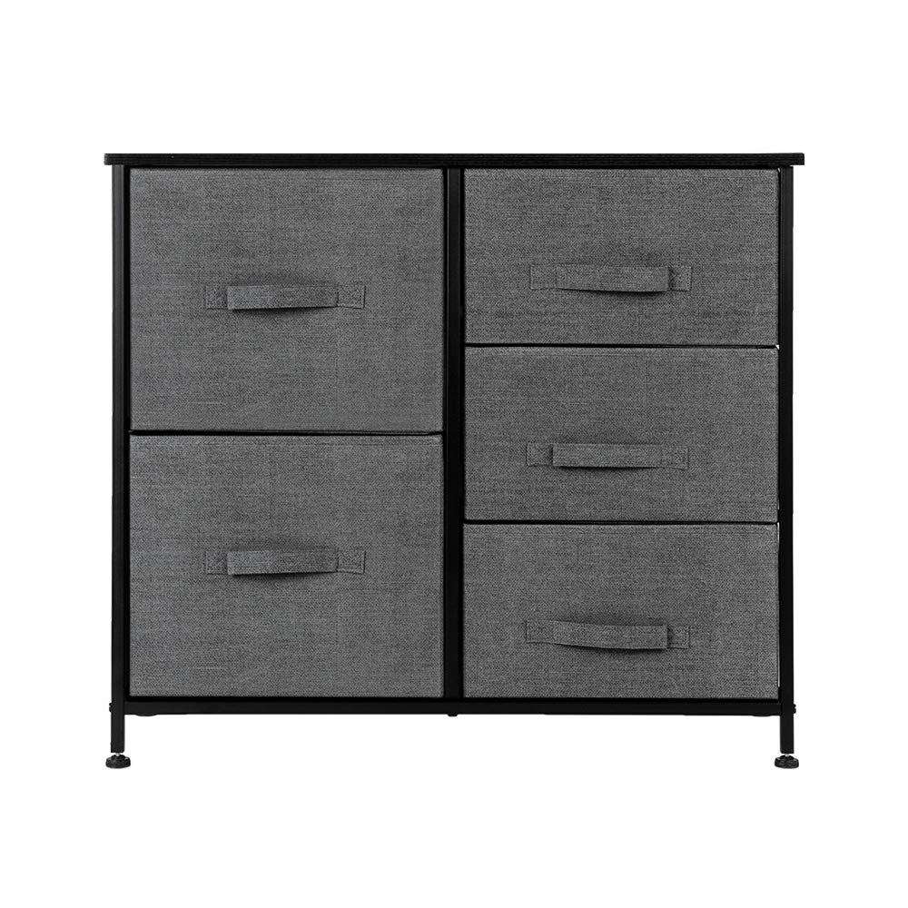 Dresser Organizer with 5 Drawers, Fabric Dresser Tower for Bedroom, Hallway, Entryway, Closets, Grey by QIANQBKN