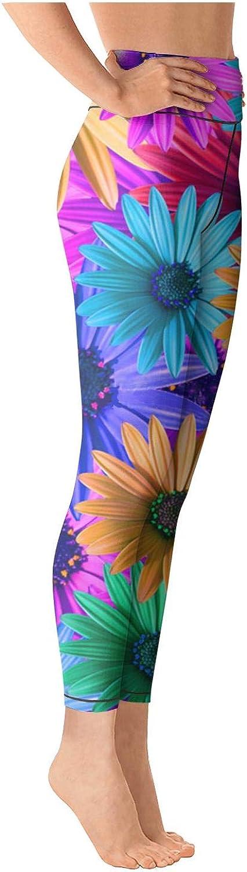 Yoga Leggings for Women Multi Colored Daisy Flowers Pattern High Waist Sports Yoga Pants