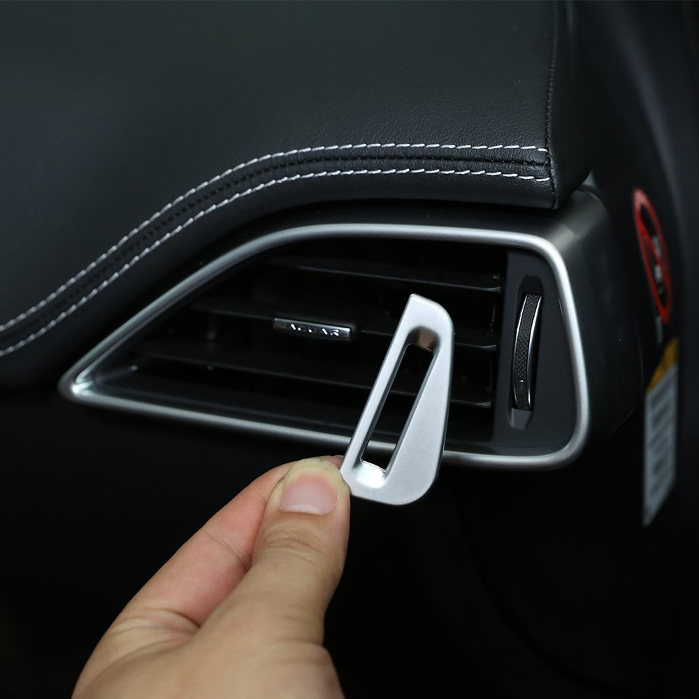 2Silber matt ABS Chrom Auto AC Vent Steckdose Anpassung Schalter Deckel PAILLETTEN Trim BEINSTOCK