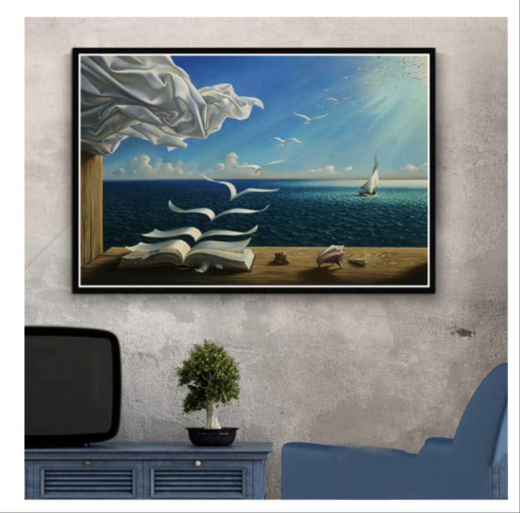 DPFRY Cuadro En Lienzo Salvador Dali Surrealista Resumen Retro Wall Art Poster Réplica Y Grabado Imagen De Pared para Sala De Estar Decoración para El Hogar Kh48Y 40X60Cm Sin Marco