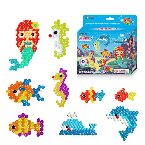 Aqua Water Sticky Beads with Whole Set Accessories,Water Fuse Beads Craft Pack 600,Magic Bead with Tweezer DIY Toys for Kids