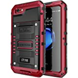 seacosmo Impermeable Funda para iPhone 7/8, [Rugged Armour] Carcasa con Protector de Pantalla [Anti-Arañazos] Protección Completa del Cuerpo Parachoque Estuche Heavy Duty Antipolvo Case, Rojo