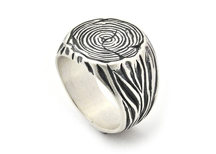 e8eec20c3ef Amazon.com: Sterling silver men's signet tree trunk ring size 6 to12 ...