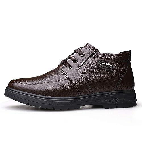 CHENJUAN Zapatos Botines de Moda para Hombre Casual Suela clásica Clásica Botas Altas con Forro Polar