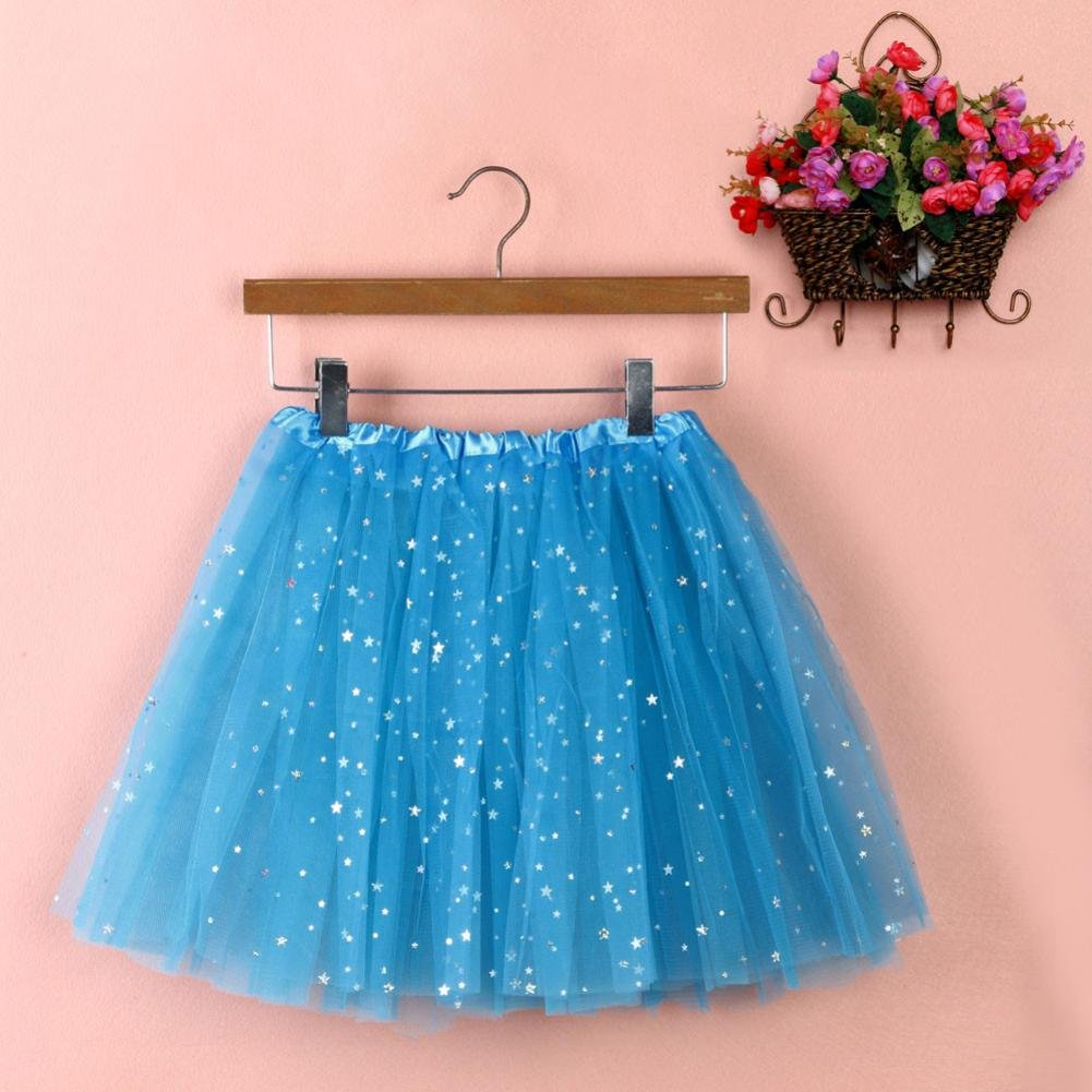 Sinwo Womens Girl Cute Pleated Gauze Short Skirt Adult Tutu Dancing Skirt Basic Skirt (Sky Blue) by Sinwo (Image #1)