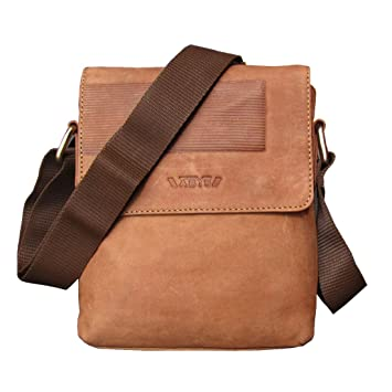 ABYS Tan Genuine Leather Messenger Bag||College Bag||Travel Pouch||Passport Pouch for Men & Women
