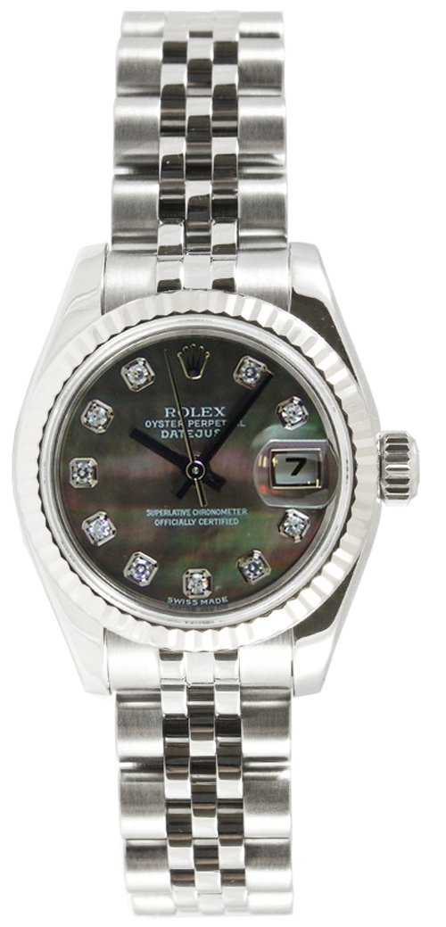Rolex Ladys 179174 Datejust Jubilee Band, Fluted Bezel & Dark Mother of Pearl Diamond Dial