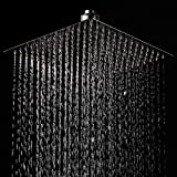 LORDEAR F01082CH Solid Square Ultra Thin 304 Stainless Steel 12 Inch Adjustable Rain Shower Head with Polish Chrome,