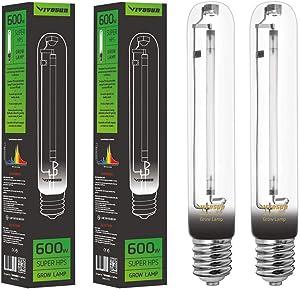 VIVOSUN 2-Pack 600 Watt High Pressure Sodium HPS Grow Light Bulb Lamp - High PAR Enhanced Red and Orange Spectrums CCT 2100K, Ultra Bright 90,000 Lumens