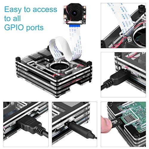 BONROB Raspberry Pi 3 B+ Case with Fan + 2.5A Power Supply + 3 Pcs Heatsinks +On/Off Switch for Raspberry Pi 1 2 3 Mobel B Pi3 B+ BS001 by BONROB (Image #2)