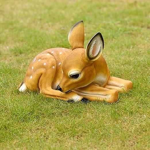 Enanos de jardín, Adornos de jardín al Aire Libre Figura, Arte Yard - Ciervos Forma Césped Estatua, Animal Decoración del Paisaje de Interior al Aire Libre casero: Amazon.es: Hogar
