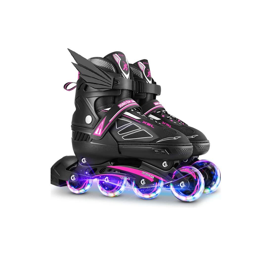 大人調節可能なサイズインラインスケート照明男の子と女の子インラインスケートジュニア快適で安全で丈夫なローラーブレード (Color : B, Size : L-EU(39-42)) B L-EU(39-42)