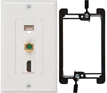 TWO BUYER/'S POINT HDMI /& CAT6 ETHERNET RJ45 WALL PLATE SINGLE GANG LOW WHITE NEW