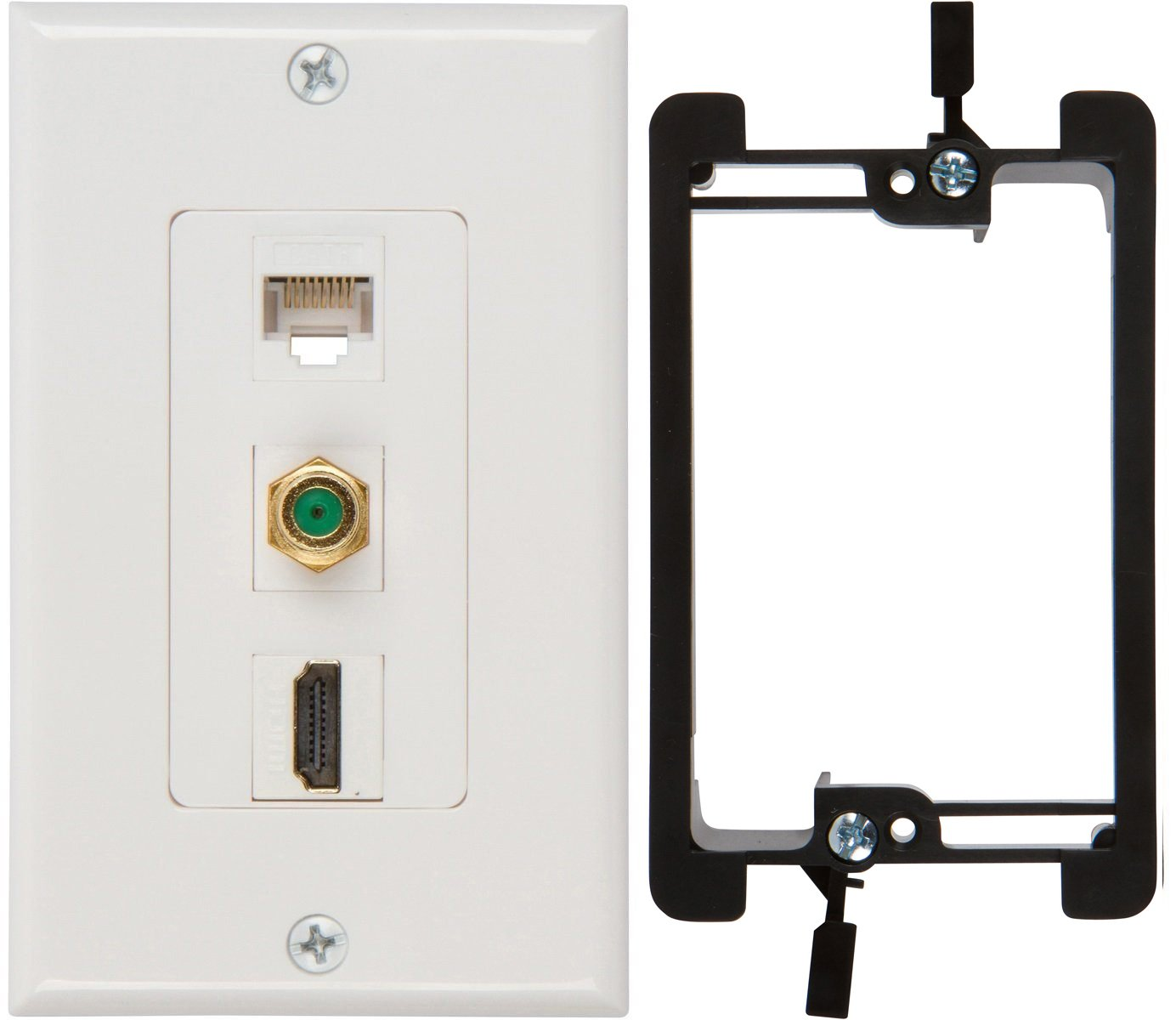 Buyer's Point HDMI 3GHz Coax Ethernet Wall Plate with Single Gang Low Voltage Mounting Bracket Device (White Kit)