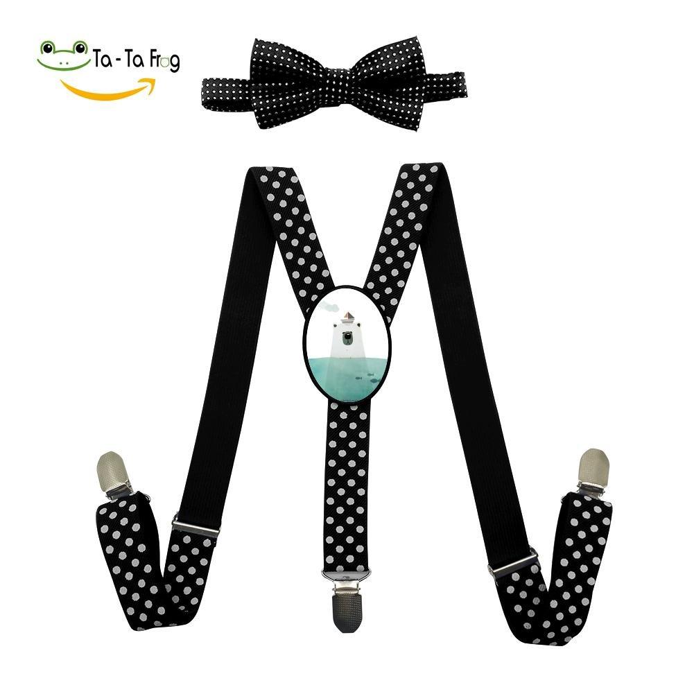 Xiacai Cartoon Fish Bear Suspender/&Bow Tie Set Adjustable Clip-On Y-Suspender Kids