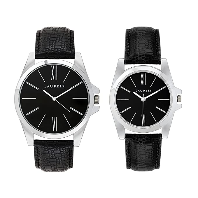 Opus Analogue Black Dial Couple's Watch for Men and Women - Set of 2(Lo-Opus-0202)