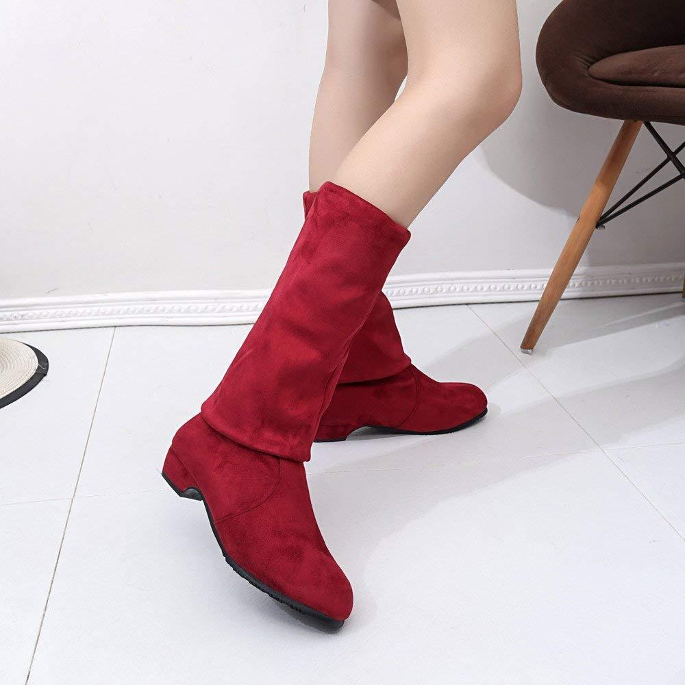 Oudan Damenstiefel Damenstiefel Damenstiefel Stiefeletten Damen Winter Herbst Flache Stiefel High Leg Wildleder Lange Stiefel Casual Stiefel Freizeit Stiefeletten (Farbe   rot1, Größe   36 EU) c785dd