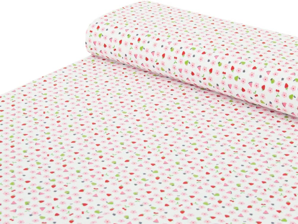 color rosa Nadeltraum azul oscuro tela para coser Tela de punto de algod/ón con mariposas y setas verde claro se vende por metros a partir de 25 cm x 150 cm