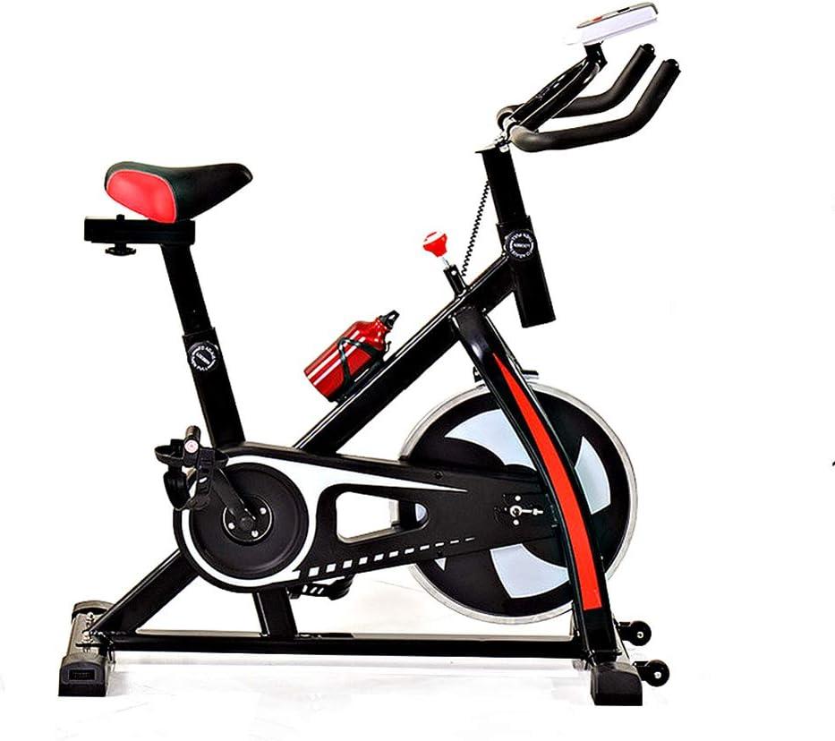 Bicicleta estática para interiores, bicicleta de spinning silenciosa con monitor LED y manubrios ajustables, volante cromado y cómodo cojín del asiento, equipo de entrenamiento para adelgazar Cardio: Amazon.es: Deportes y aire libre