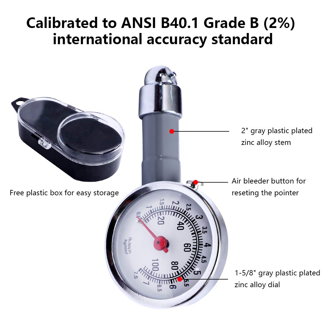 10-100PSI 0.5-7.5KG//c㎡ Accurate Mechanical Zinc Alloy Air Gage CZC AUTO Small Tire Pressure Gauge Single Chuck Dial Wheel Pressure Tester for Motorcycle Bike Car RV Bicycle SUV ATV