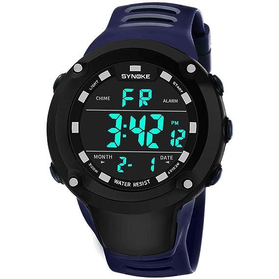 Bestow Reloj Impermeable Luminoso al Aire Libre SYNOKE Reloj Deportivo Multiuso Hombres de la Funci¨