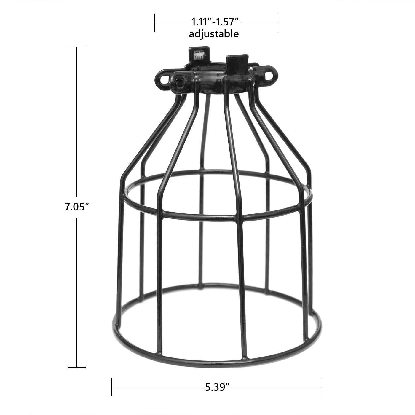 Metal Bulb Guard, Clamp On Steel Lamp Cage for Hanging Pendant Lights, Ceiling Fan Light and Vintage Lamp Holders,Open Style Black Industrial Wire Iron Bird Cage,4-Pack, by Seaside Village by Seaside village (Image #2)