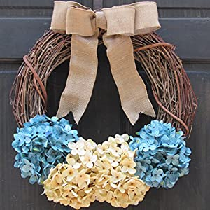 Hydrangea Grapevine Spring Winter Wreath for Front Door Decor; Turquoise Blue and Cream 66