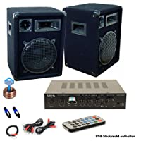 etc-shop PA Party Musik Anlage Bluetooth USB MP3 Receiver Verstärker Fernbedienung Boxen DJ-566