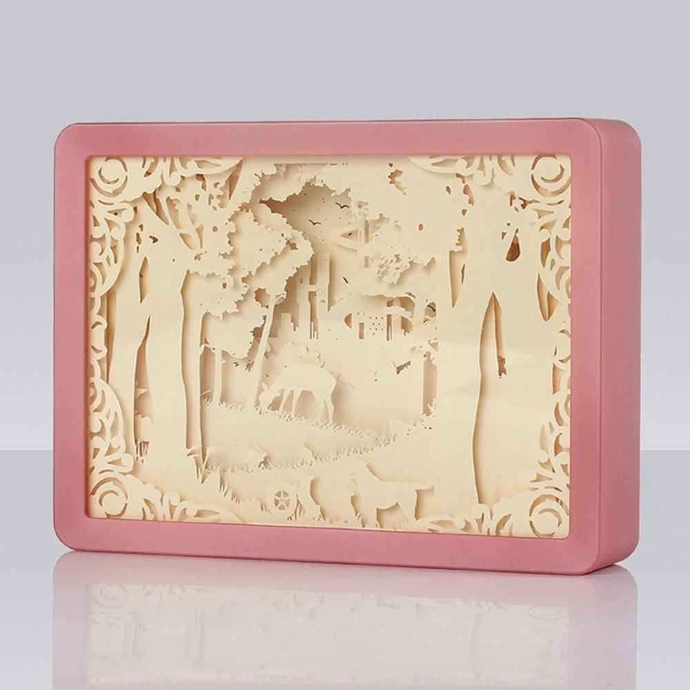 AOKOALA 3D Decorative Lights Night Light, LED Paper Carved Lights, ABS Frame Bedside Lamps, for Lover , Pink
