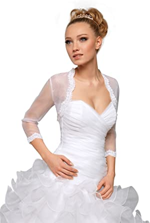 Size XS 3-4 Girls White Sheer Organza Bolero Jacket