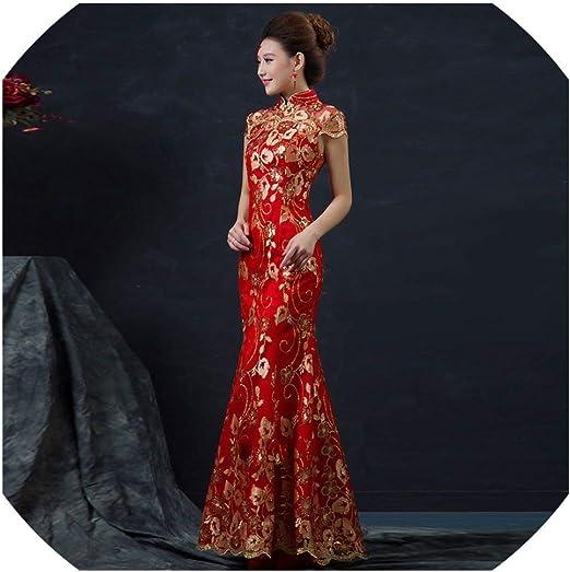 Amazon Com Cheongsam Red Wedding Dress Female Long Short Sleeve