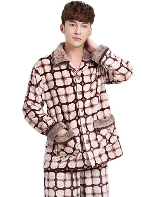 ACVXZ Conjuntos De Pijama para Hombre Otoño/Invierno Cálido Franela Conjuntos Home