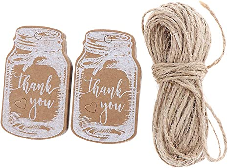 SM SunniMix 50 Pieces Drift Bottle Paper Cards Thank You Hanging Gift Tag Christmas Favors