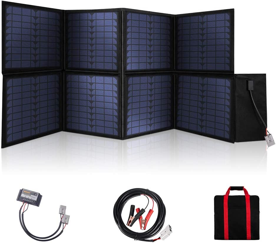 MEGSUN 120W Foldable Solar Panel 12V Monocrystalline Panel Solar with USB Device Controller Ideal for Camping, Caravan, Motorhome Rallies, Mobile Offices 12V System Black in Suitcase